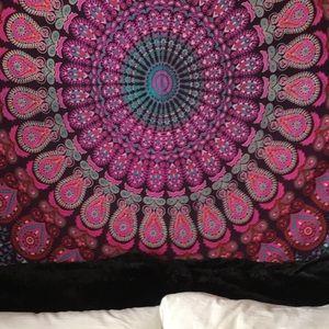 Boho mandala floral tapestry wall hanging